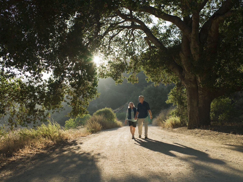 Ein Pärchen geht spazieren. Ein gesunder und aktiver Lebensstil beugt vielen Erkrankungen vor.